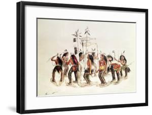 The Snow-Shoe Dance: to Thank the Great Spirit For the First Appearance of Snow by George Catlin