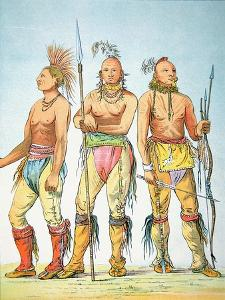 Three Osage Braves, 1841 by George Catlin