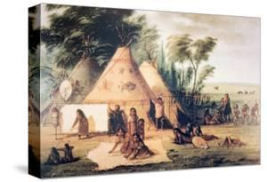 Village of the North American Sioux Tribe by George Catlin