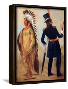 """Wi Jun Jon Pigeon's Egg Head (The Light) Going To And Returning From Washington"""" by George Catlin"""