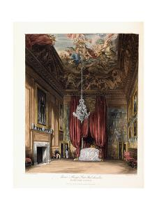 Queen Mary's State Bed-Chamber, Hampton Court, 1819 by George Cattermole