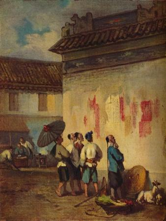 'Coolies Reading a Proclamation, Macao', c1840
