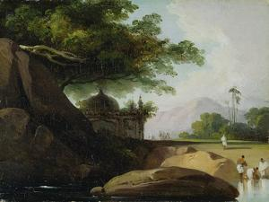 Indian Landscape with Temple, C.1815 by George Chinnery