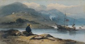 River with Figure on the Bank, 19th Century by George Chinnery