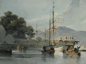 Shipping on a Chinese River, 19th Century by George Chinnery