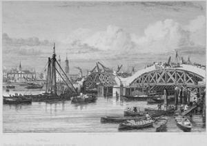 London Bridge under Construction, 1827 by George Cooke