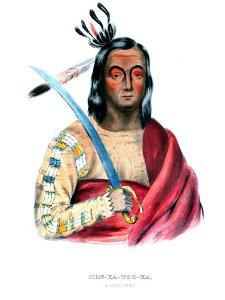 Moukaushka ('The Trembling Earth'), a Yankton Sioux chief by George Cooke