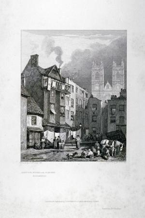William Caxton's House in the Almonry, Westminster, London, 1827