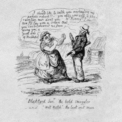 Black Eyed Sue the bold smuggler and Will Watch the look out man', 1829 by George Cruikshank