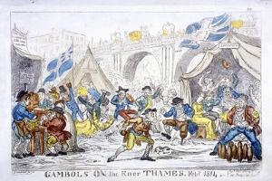 Gambols on the River Thames, Feby, 1814 by George Cruikshank
