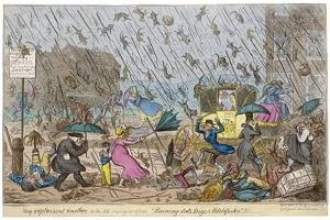 Raining Cats and Dogs, and Pitchforks by George Cruikshank