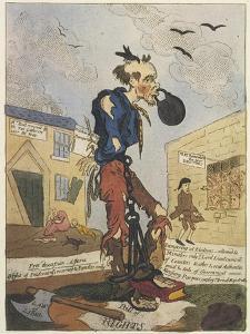 Satirical View of the Free- Born Englishman Following the Peterloo Massacre by George Cruikshank