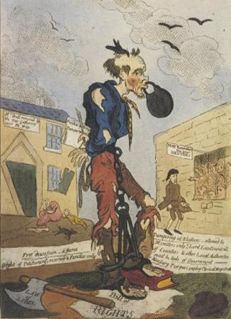 Satirical View of the Free- Born Englishman Following the Peterloo Massacre