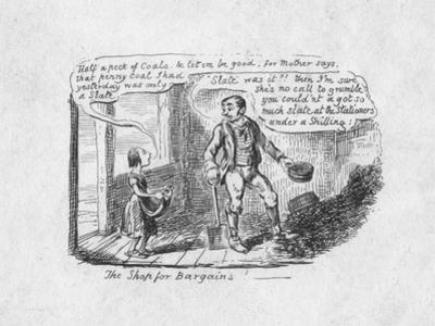 'The Shop for Bargains', 1829 by George Cruikshank