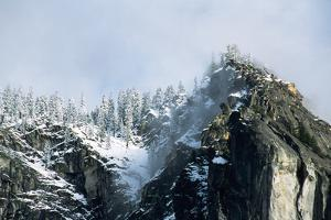 Snow-Covered Mountain near Yosemite Valley by George D Lepp