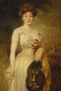 Portrait of a Lady in a White Dress, 1909 by George Elgar Hicks