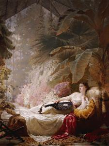 Portrait of Adelaide Maria Guinness, Reclining on a Sofa in a Conservatory, 1885 by George Elgar Hicks