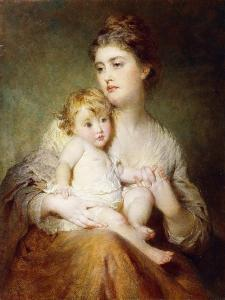 Portrait of the Duchess of St. Albans, with Her Son, 1875 by George Elgar Hicks