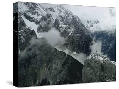 A Climber Enjoys the Immense Vista of the Bavarian Alps