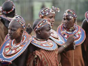 A Group Portrait of Masai Women in Native Costume by George F. Mobley