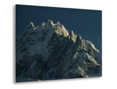 Mont Blanc at Evening with Ridgeline Seen against Sky