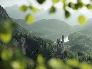 Neuschwanstein Castle of King Ludwig Along the Alp-See by George F^ Mobley