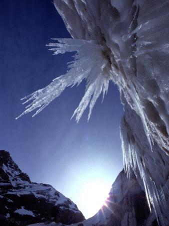 Sunlight Glints on the Bearded Face of Gangotri Glacier