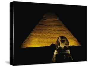 The Great Sphinx is Illuminated at Night by George F. Mobley