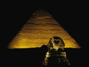 The Great Sphinx is Illuminated at Night by George F^ Mobley