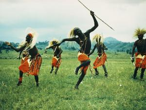 Tutsi Men Recall Days of Glory in an Exuberant Dance by George F. Mobley