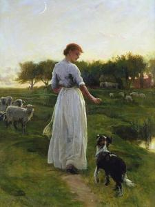 A Shepherdess with Her Dog and Flock in a Moonlit Meadow by George Faulkner Wetherbee