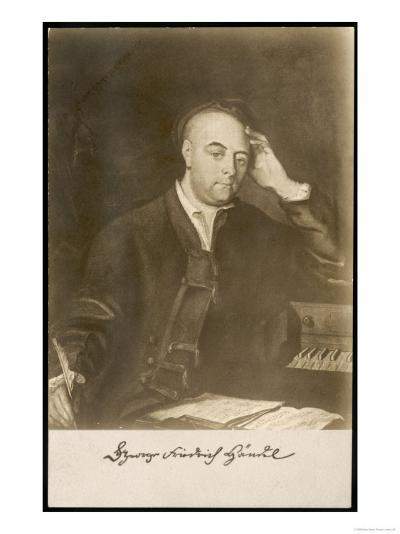 George Frederic Handel German-English Musician. with Signature--Giclee Print