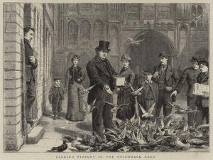 Feeding Pigeons in the Guildhall Yard by George Goodwin Kilburne
