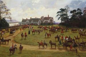 The Cheshire Hunt - the Meet at Calveley Hall by George Goodwin Kilburne