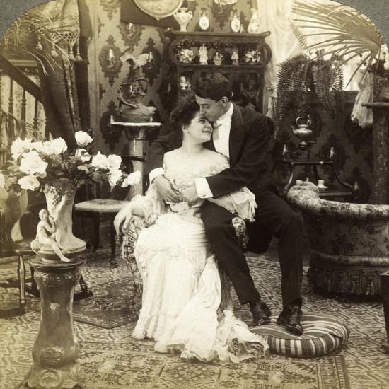 George Greatly Admires Ethel's Beautiful Complexion-Underwood & Underwood-Photographic Print