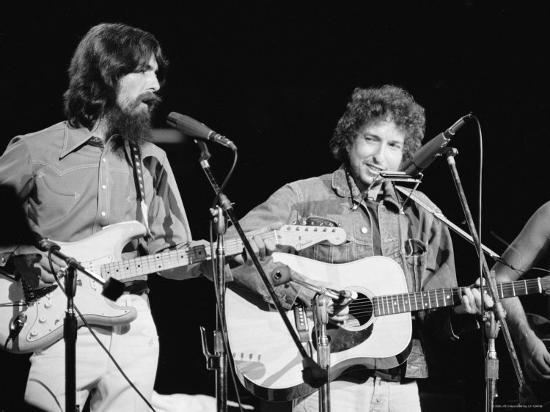 George Harrison and Bob Dylan during the Concert for Bangladesh at Madison Square Garden-Bill Ray-Premium Photographic Print