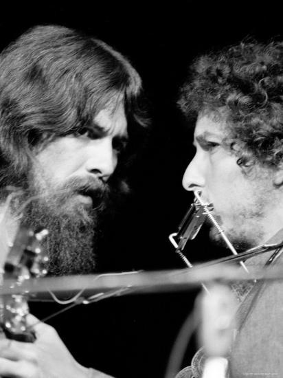George Harrison and Bob Dylan Performing Together at Rock Concert Benefiting Bangladesh-Bill Ray-Premium Photographic Print