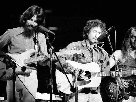 George Harrison, Bob Dylan and Leon Russell Performing for Bangladesh at Madison Square Garden-Bill Ray-Premium Photographic Print