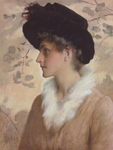 Portrait of a Lady, Half-Length, Wearing a Black Hat and Fur Stole, 1888 (Pencil and W/C on Paper) by George Henry Boughton