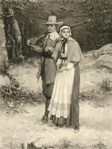 Puritan Couple on their Way to Sunday Worship, Engraved by Thomas Gold Appleton, 1885 by George Henry Boughton