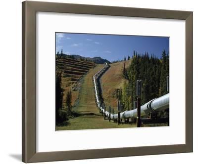 Trans-Alaska Pipeline Passing over Squirrel Creek, Chugach Range, Alaska
