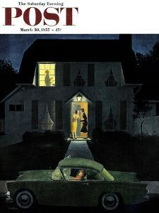 """""""After Party Talk"""" Saturday Evening Post Cover, March 30, 1957 by George Hughes"""