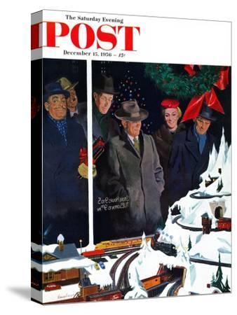 """Christmas Train Set"" Saturday Evening Post Cover, December 15, 1956"