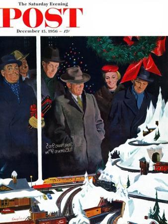 """""""Christmas Train Set"""" Saturday Evening Post Cover, December 15, 1956 by George Hughes"""