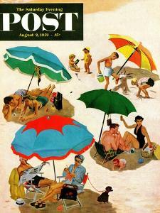 """""""Couples at the beach"""" Saturday Evening Post Cover, August 2, 1952 by George Hughes"""