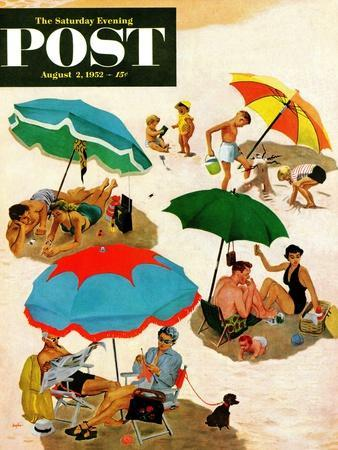 """""""Couples at the beach"""" Saturday Evening Post Cover, August 2, 1952"""