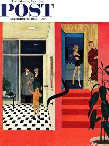 """""""Early Guests"""" Saturday Evening Post Cover, November 23, 1957 by George Hughes"""