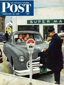 """""""Expired Meter"""" Saturday Evening Post Cover, February 10, 1951 by George Hughes"""