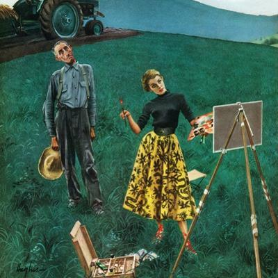 """Farmer and Female Artist in Field"", June 6, 1953 by George Hughes"
