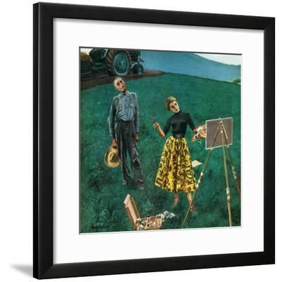 """Farmer and Female Artist in Field"", June 6, 1953"